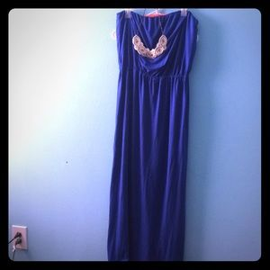 Strapless electric blue maxi dress